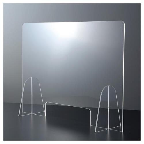 Plexiglas-Schutzwand 90x150 cm mit Serviceöffnung 20x40 cm 2