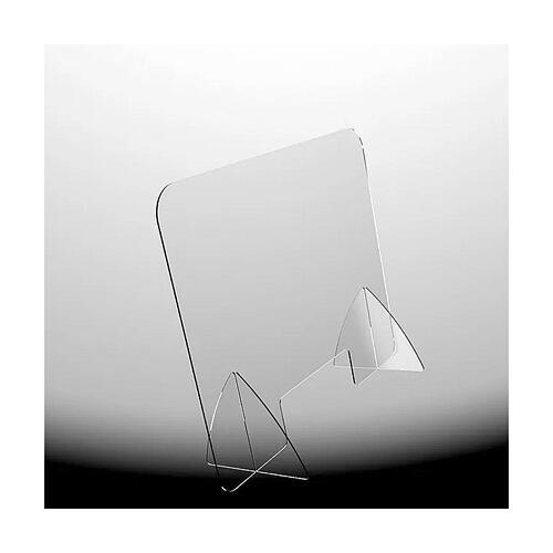 Barreira de proteção anti-contágio de mesa acrílico 90x150 cm com abertura 20x40 cm 1