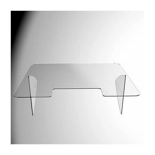Barreira de proteção anti-contágio de mesa acrílico 90x150 cm com abertura 20x40 cm 2
