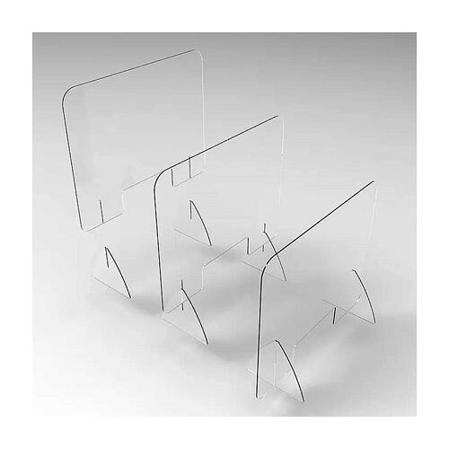 Barreira de proteção anti-contágio de mesa acrílico 90x150 cm com abertura 20x40 cm 3