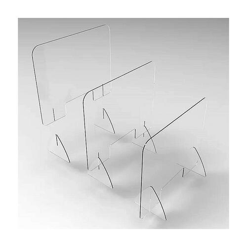 Barreira de proteção anti-contágio de mesa acrílico 65x95 cm com abertura 20x40 cm 3