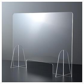 Dispositif distanciation sociale plexiglas 50x70 cm fente 15x30 cm s1