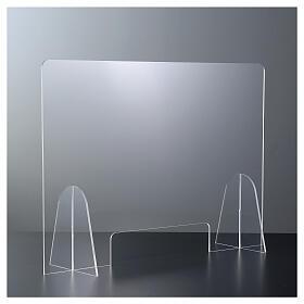 Barreira de proteção anti-contágio de mesa acrílico 50x70 cm com abertura 15x30 cm s2