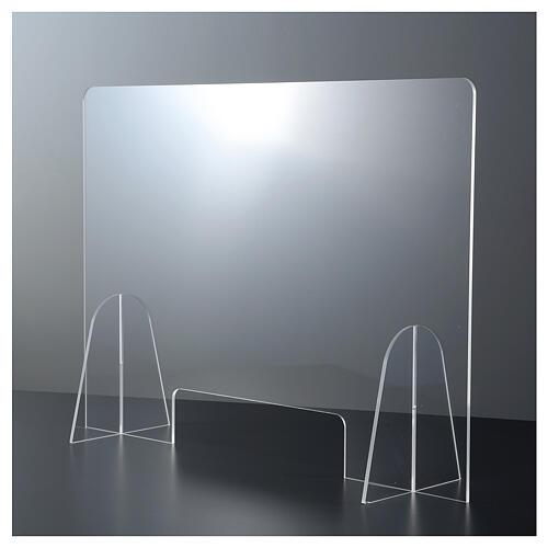 Barreira de proteção anti-contágio de mesa acrílico 50x70 cm com abertura 15x30 cm 1