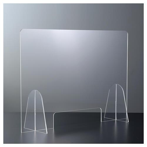 Barreira de proteção anti-contágio de mesa acrílico 50x70 cm com abertura 15x30 cm 2