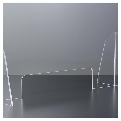Barreira de proteção anti-contágio de mesa acrílico 50x70 cm com abertura 15x30 cm 3