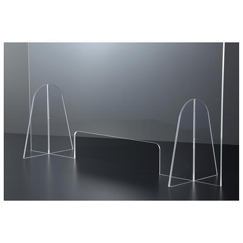 Barreira de proteção anti-contágio de mesa acrílico 50x70 cm com abertura 15x30 cm 4