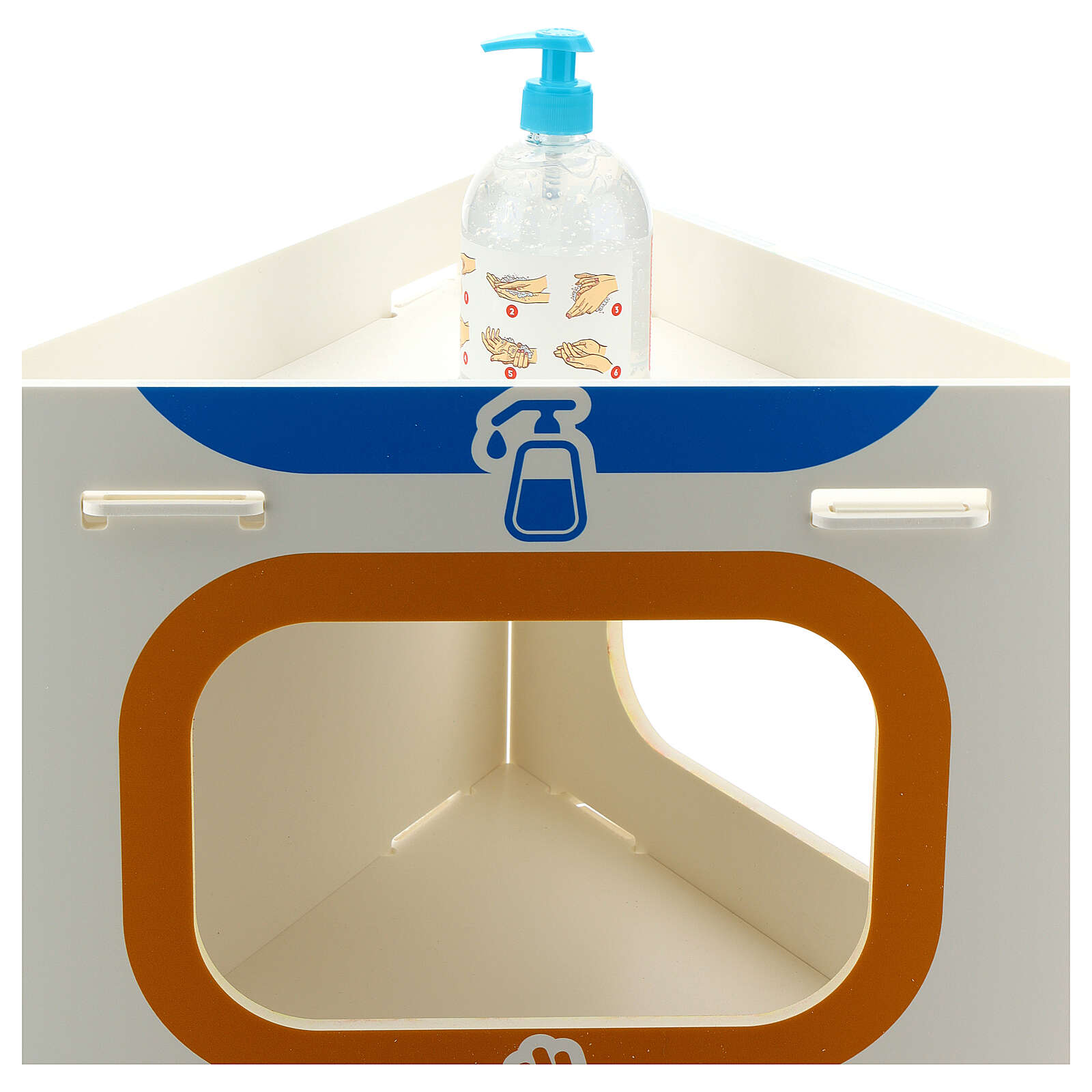 Totem for dispensing sanitising gel gloves and rubbish 3