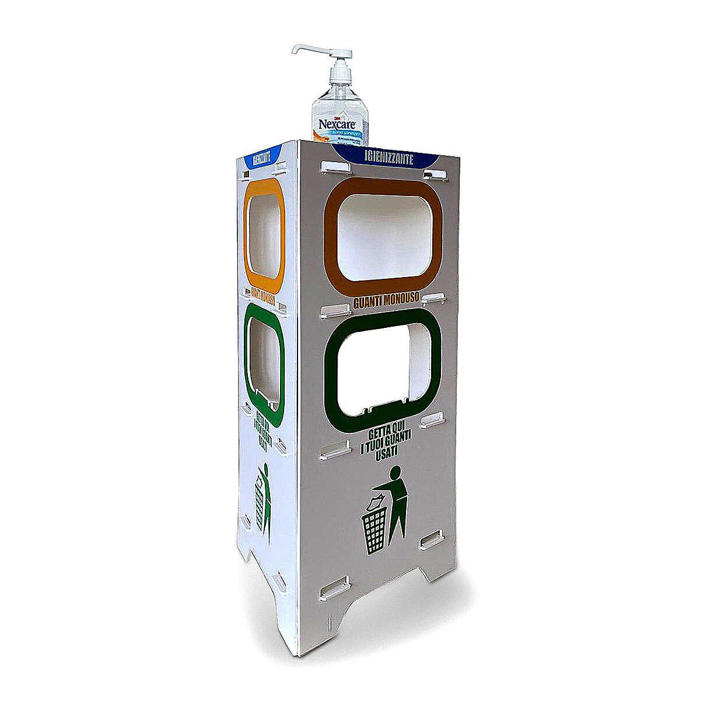 Totem estante para álcool em gel, luvas e lixeira 100 cm 3