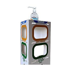 Totem estante para álcool em gel, luvas e lixeira 100 cm s2