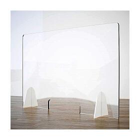 Cloison de protection pour banc - Goutte en krion h 65x95 cm fenêtre h 8x32 cm s1