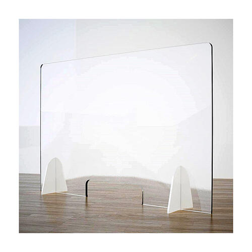 Countertop acrylic shield- Goccia in krion h 65x120 cm- window h 8x32 cm 1