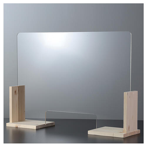 Plexiglass screen Wood Line, h 50x70 cm cutout window h 8x32 cm 1