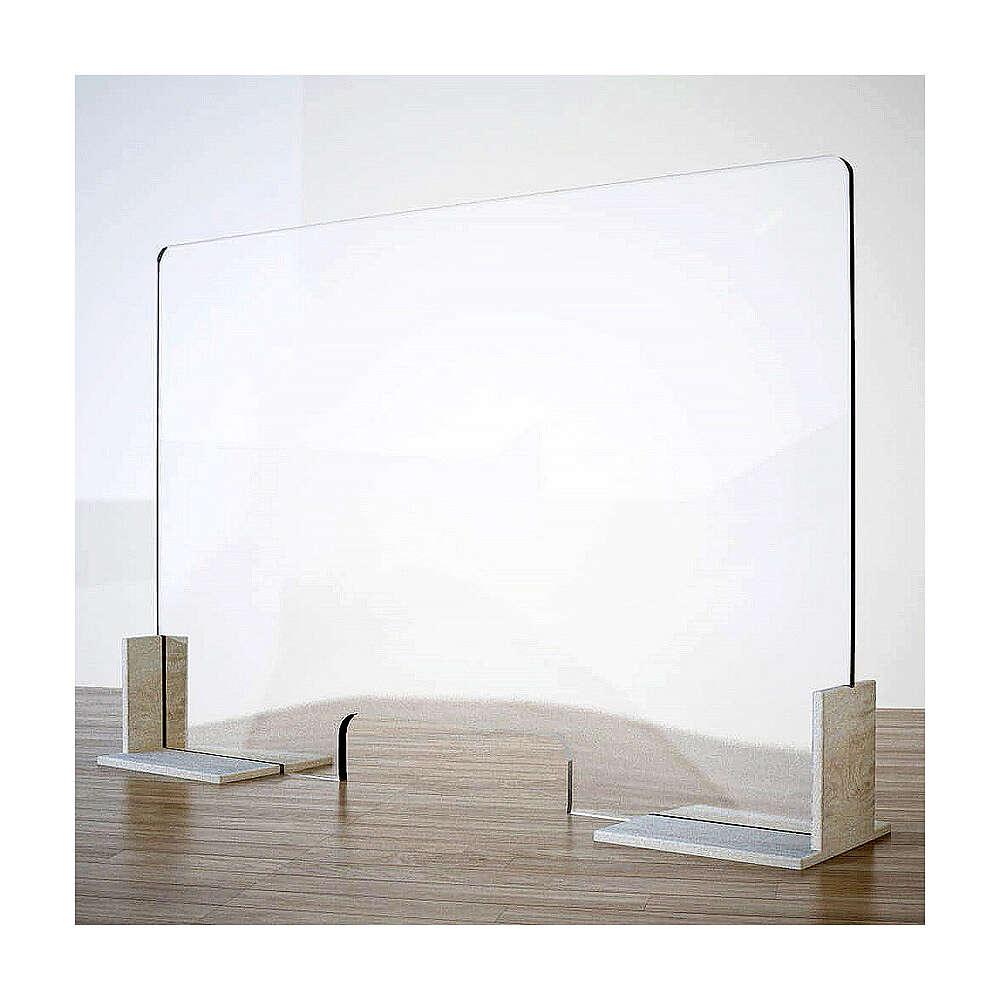 Barreira de proteção anti-contágio de mesa, Design Wood, 65x95 cm com abertura de 8x32 cm 3