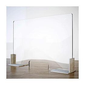 Barreira de proteção anti-contágio de mesa, Design Wood, 65x95 cm com abertura de 8x32 cm s1