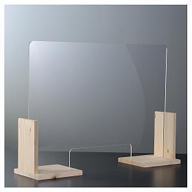 Barreira de proteção anti-contágio de mesa, Design Wood, 65x95 cm com abertura de 8x32 cm s2