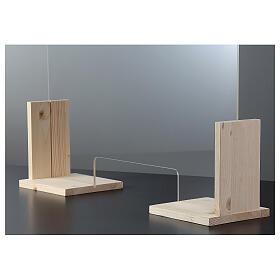 Barreira de proteção anti-contágio de mesa, Design Wood, 65x95 cm com abertura de 8x32 cm s3