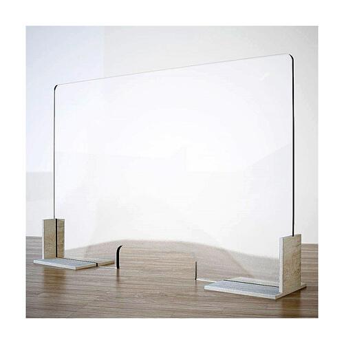 Barreira de proteção anti-contágio de mesa, Design Wood, 65x95 cm com abertura de 8x32 cm 1