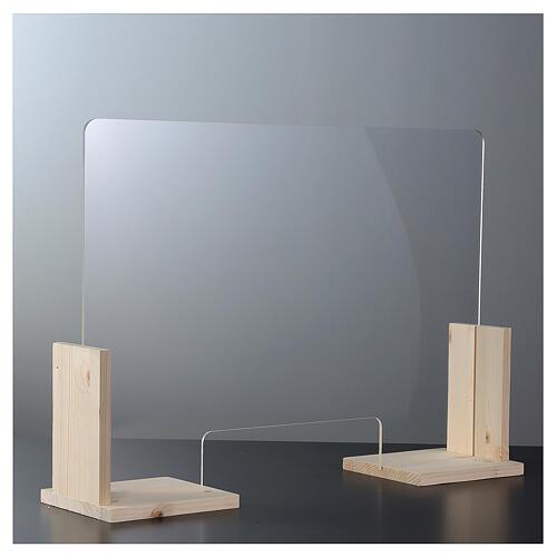 Barreira de proteção anti-contágio de mesa, Design Wood, 65x95 cm com abertura de 8x32 cm 2