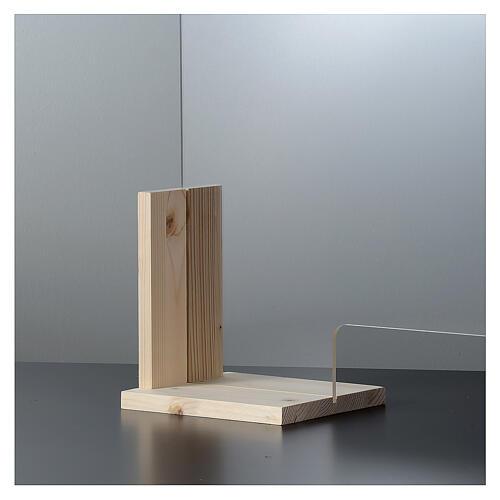 Barreira de proteção anti-contágio de mesa, Design Wood, 65x95 cm com abertura de 8x32 cm 4