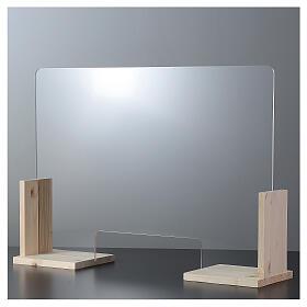 Plexiglass screen Wood Design h 65x95 cm- cutout window h8x32 cm s1