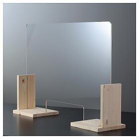Barreira de proteção anti-contágio de mesa, Linha Wood, 65x120 cm com abertura de 8x32 cm s6