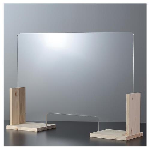 Barreira de proteção anti-contágio de mesa, Linha Wood, 65x120 cm com abertura de 8x32 cm 1
