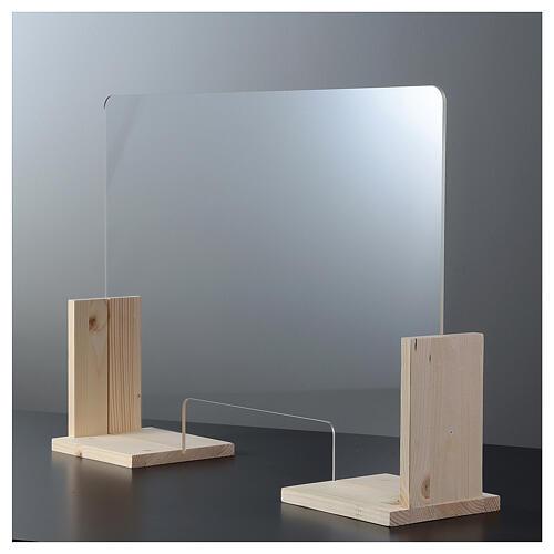Barreira de proteção anti-contágio de mesa, Linha Wood, 65x120 cm com abertura de 8x32 cm 6