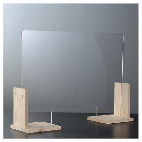 Counter plexiglass screen- Wood h 65x120 cm and cutout h 8x32 cm s2