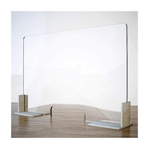Counter plexiglass screen- Wood h 65x120 cm and cutout h 8x32 cm 1
