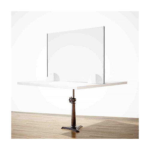Counter plexiglass screen- Wood h 65x120 cm and cutout h 8x32 cm 2