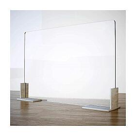 Barreira acrílica de proteção anti-contágio de mesa, linha Wood, 50x140 cm s1