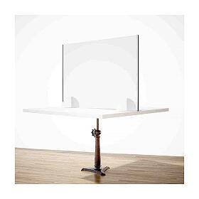 Barreira acrílica de proteção anti-contágio de mesa, linha Wood, 50x140 cm s2