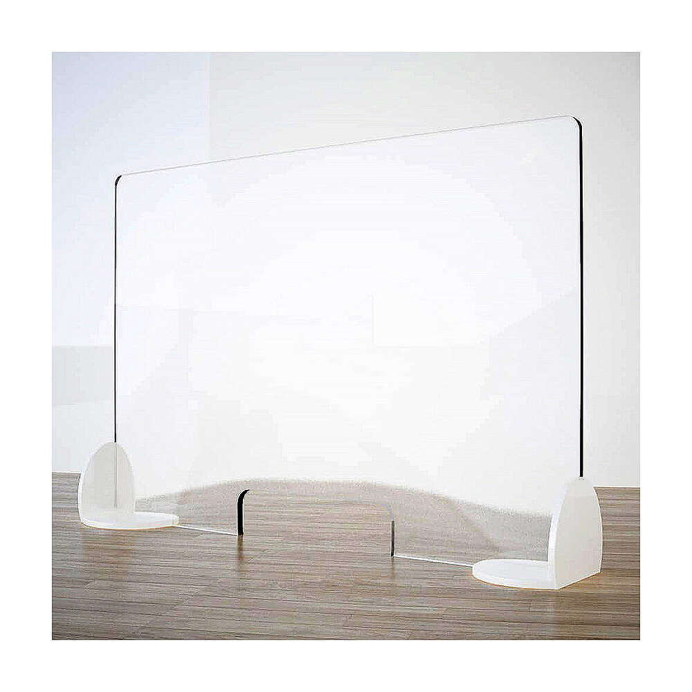 Acrylic shield divider Book Design, krion h 65x120 cm with window h 8x32 cm 3