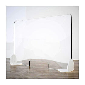 Acrylic shield divider Book Design, krion h 65x120 cm with window h 8x32 cm s1