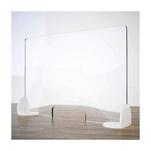 Acrylic shield divider Book Design, krion h 65x120 cm with window h 8x32 cm 1
