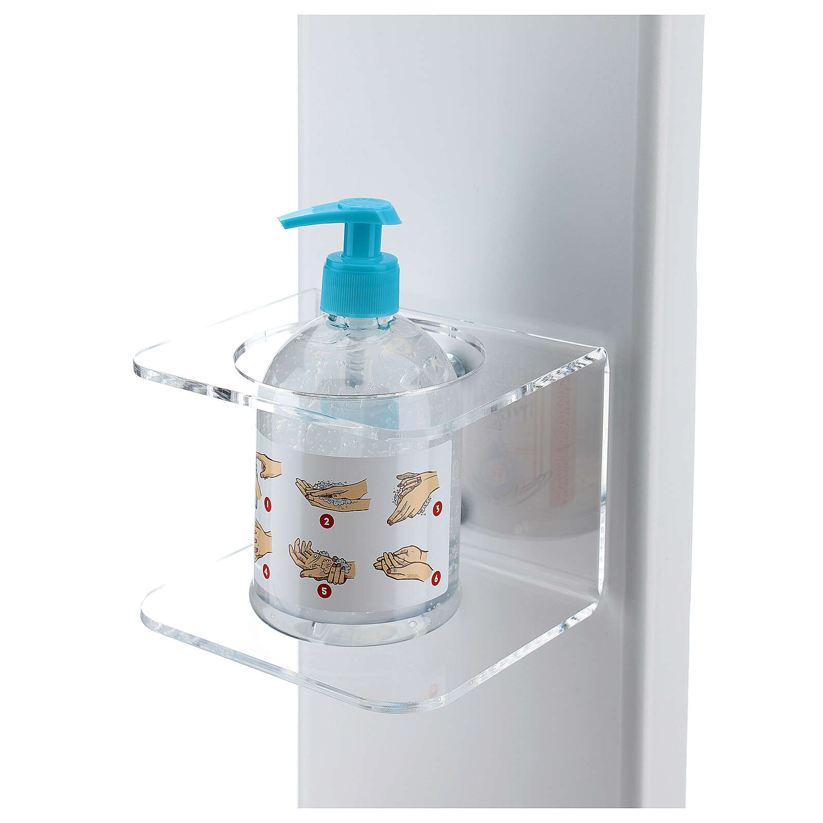 Hand disinfectant dispenser holder with gloves shelf and basket OUTSIDE 3