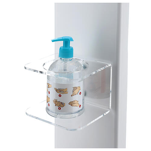 Hand disinfectant dispenser holder with gloves shelf and basket OUTSIDE 2