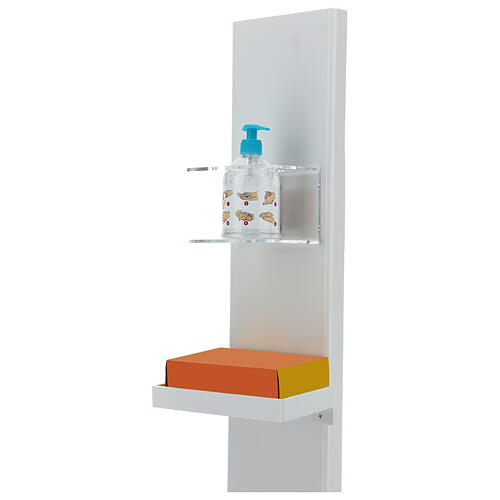 Hand sanitizer dispenser stand with gloves shelf and waste bin OUTDOOR USE 5