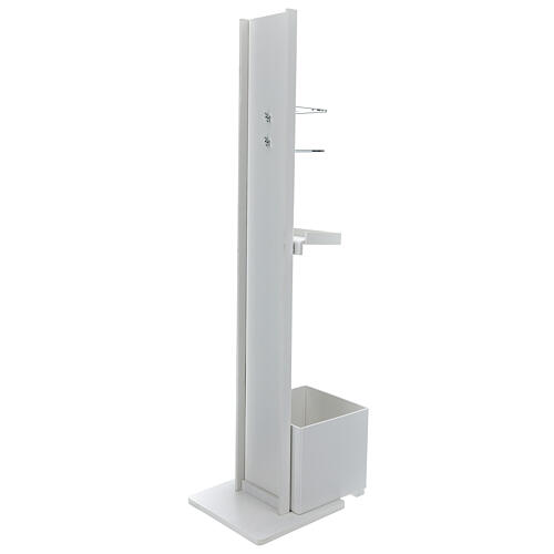 Hand sanitizer dispenser stand with gloves shelf and waste bin OUTDOOR USE 7