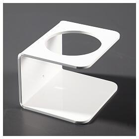 Wandhalter aus weißem Plexiglas für Händedesinfektionsmittel s3