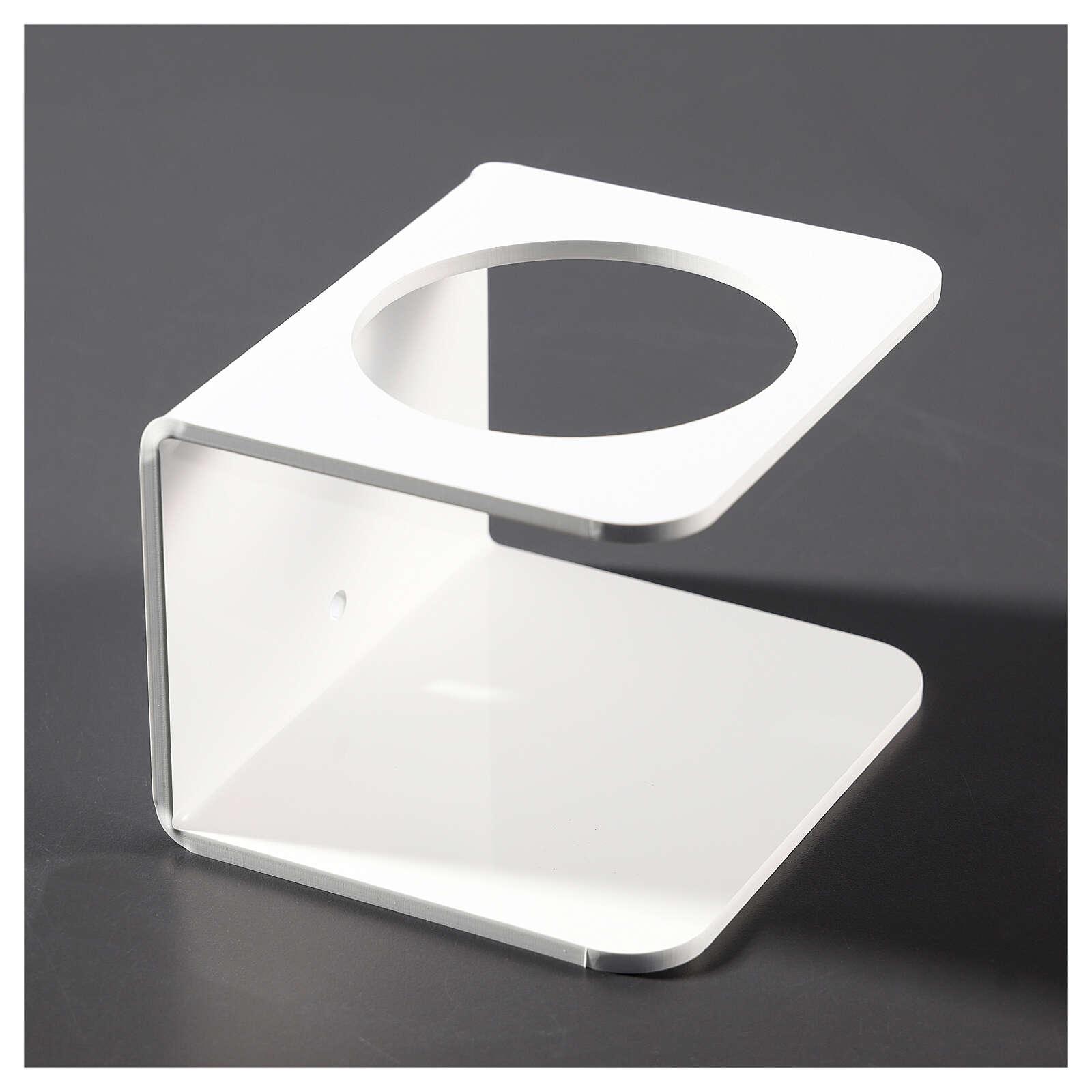 Support pour distributeur de désinfectant en plexiglas blanc 3