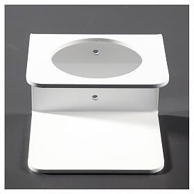 Suporte de parede em acrílico branco para distribuidor de gel desinfetante para mãos s1