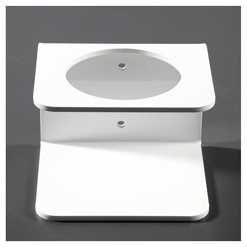 Suporte de parede em acrílico branco para distribuidor de gel desinfetante para mãos 1