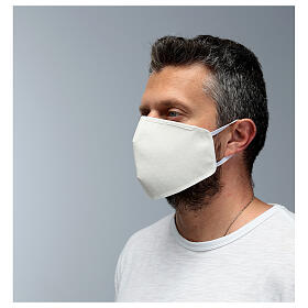 Fabric reusable face mask with ivory edge s4