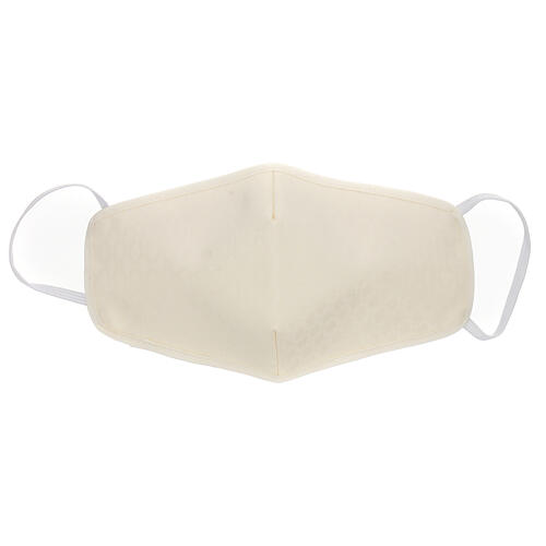 Fabric reusable face mask with ivory edge 1