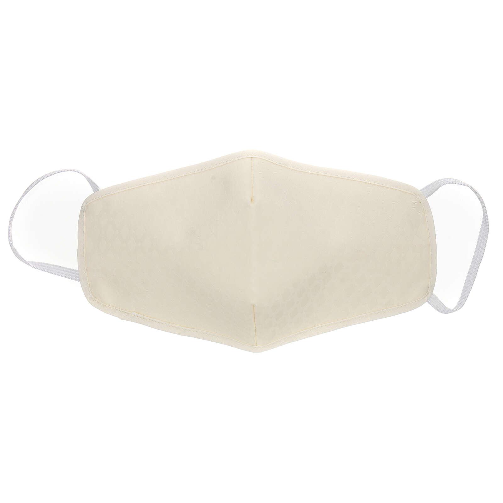 Mascherina in stoffa riutilizzabile avorio 3