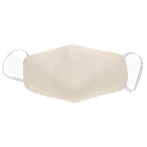 Mascherina in stoffa riutilizzabile avorio 1