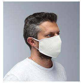 Máscara de tecido reutilizável branca s3
