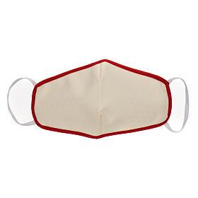 Stoffmaske, wiederverwendbar, elfenbein, mit rotem Rand s1